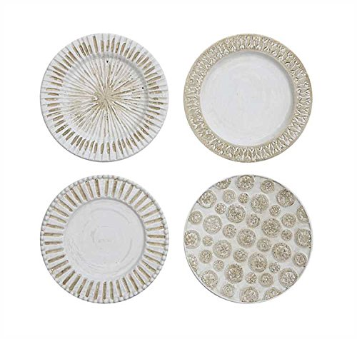Distressed Cream Decorative Ceramic Wall Plates - Set of 4 by Heart of America