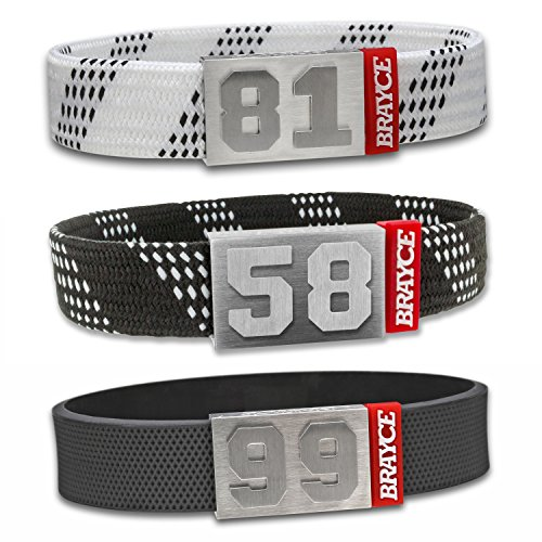 BRAYCE Hockey Bracelet with Your Jersey Number 00-99 I Shoe lace & Puck Style I Durable Like an ice Hockey Stick & a NHL ()