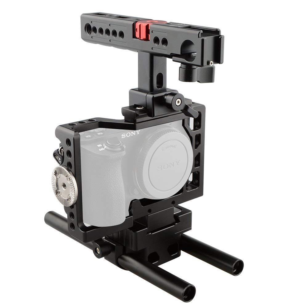 CAMVATE カメラケージキット ARRIロゼット 兼用 HDMIロック付け トップハンドル:15mmロッドクランプ 2点シューマウント付き ソニーA6500 A6300用   B06W9KNTLV