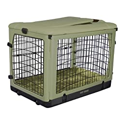 Pet Gear The Other Door Steel Crate with Plush Bolster Bed for cats and dogs up to 30-pounds, Sage