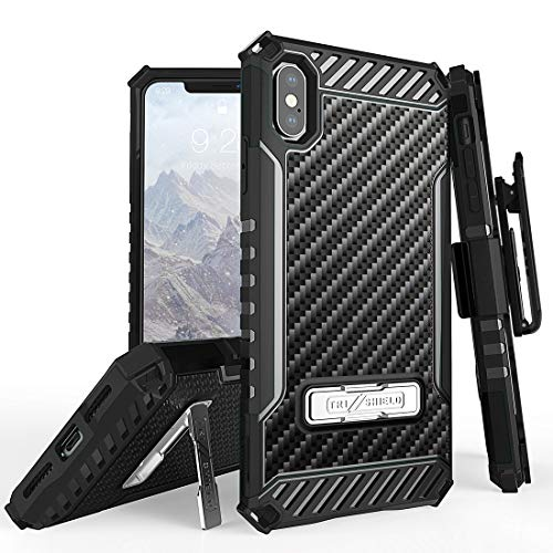 Beyond Cell Tri Shield Military Grade Shock Proof [MIL-STD 810G-516.6] Kickstand Case Cover with 360 Degree Rotating Swivel Belt Clip Holster for iPhone Xs Max - Carbon Fiber Case Carbon Fiber Belt Clip
