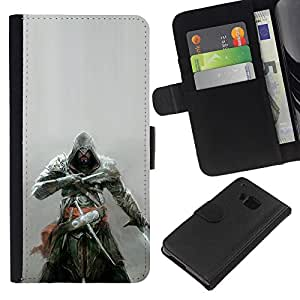 YiPhone /// Tirón de la caja Cartera de cuero con ranuras para tarjetas - Asesinos Samurai - HTC One M7