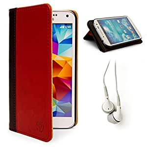 Mary Folio Wallet Leather Case w/ Stand For Samsung Galaxy S4 S IV + Handsfree Earphones