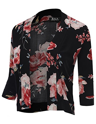 3/4 Sleeve Petite Cardigan - BH B.I.L.Y USA Women's Classic Open Front Cropped 3/4 Sleeve Floral Print Cardigan 12145 Black Medium