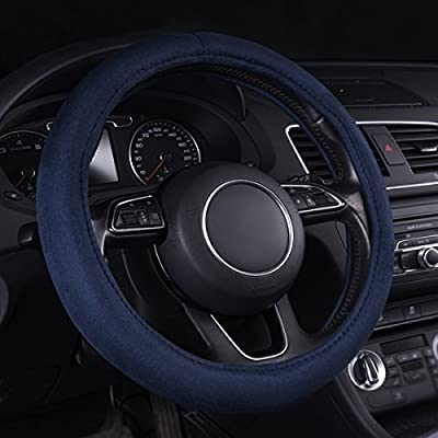 CAR PASS Warm Faux Sudue Universal Car Steering Wheel Cover, for Cars,suvs,Trucks (Blue): Automotive
