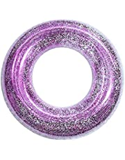 Abimy Sequins Swimming Rings for Kids, Durable Transparent Swimming Tube Toy with Colorful Sparkling Glitters, Summer Beach Party Pool Toys