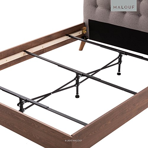 MALOUF Structures Center Support System Replace Wooden Bed Slats-Universal Size Full to King-Adjustable Leg Height, Black