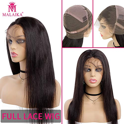 Sedittyhair MALAIKA Straight Full Lace Human Hair Wigs With Baby Hair For Black Women Deep Parting Remy Hair Glueless Full Lace Wig Pre Plucked Hibaby Hair With 14 inch