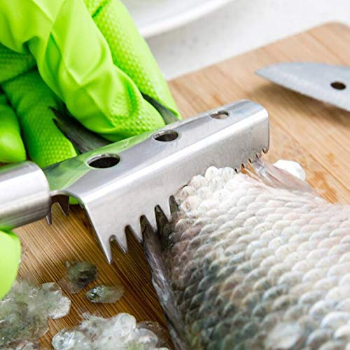 ForShop 1pc Fish Skin Brush Stainless Steel Scraping Fish Scale Brush Graters Fast Remove Fish Cleaning Peeler Scaler Scraper