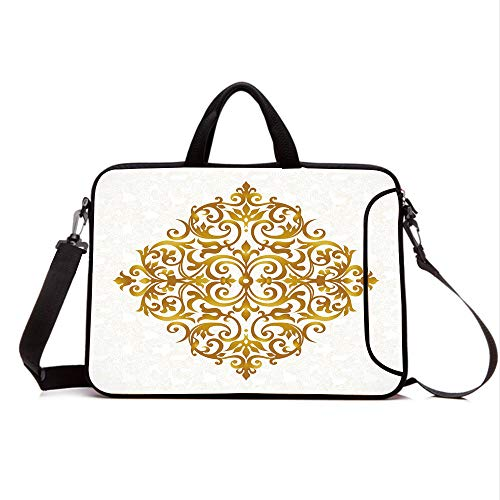 "15"" Neoprene Laptop Bag Sleeve with Handle,Adjustable Shoulder Strap & External Side Pocket,Gold Mandala,Victorian Style Traditional Filigree Inspired Royal Oriental Classic Print Decorative,Gold Wh"