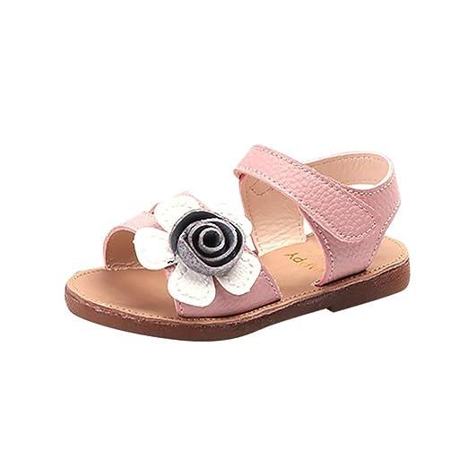 003550ca47b881 Axinke Toddler Girls Open Toe Non-Slip Flat Roman Sandals with Flowers (5 M