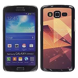 Caucho caso de Shell duro de la cubierta de accesorios de protección BY RAYDREAMMM - Samsung Galaxy Grand 2 SM-G7102 SM-G7105 - Yellow Pattern Polygon