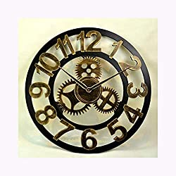 PFCC Creative Wall Clock Retro Openwork Gear Wall Clock Industrial Wind Old Bar Wooden Wall Clock Decorative Wall Clock (Color : Golden Arabian)