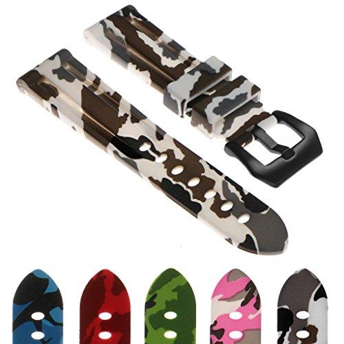 StrapsCo Camo Silicone Rubber Watch Band Strap with Matte Black Pre-V Buckle 22mm 24mm 26mm