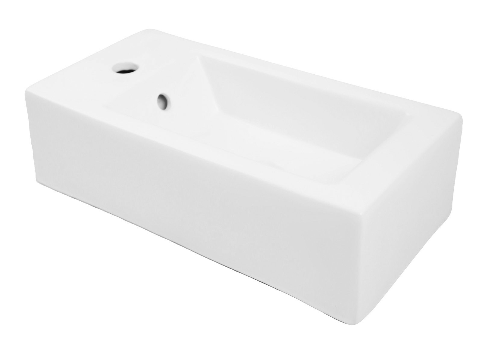 DECOLAV 1486L-CWH Eleni Classically Redefined Rectangular Wall-Mount or Above-Counter Lavatory Sink with Left Side Faucet Hole, White by Decolav