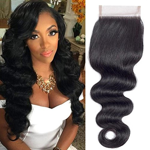 QTHAIR 10A Brazilian Body Wave Human Hair 4x4 Lace Closure(10inch,Free Part,1.23oz,Natural Black) Top Swiss Lace Brazilian Virgin Human Hair Body Wave Lace Closure ()