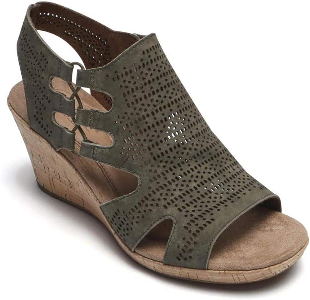 Cobb Hill Women's Janna Perf Boot Sandal, Green Nubuck, 065 M US