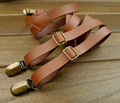 Amazon Com Bagparadise Wedding Suspender Retro Leather Suspenders