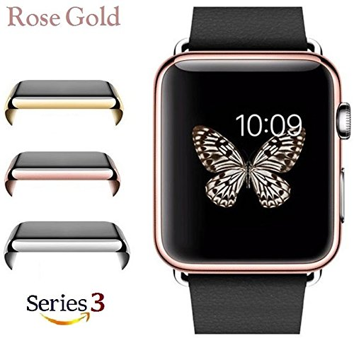 Protective Shield (Josi Minea Apple Watch 3 [38mm] Protective Snap-On Case with Built-in Clear Screen Protector - Anti-Scratch & Shockproof HD Shield Ultra Thin Cover Guard for Apple Watch Series 3-38mm [ Rose Gold ])