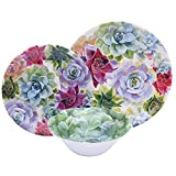 Colorful 12 Piece Floral Melamine Dinnerware Set, Break Resistant Dishes for Everyday Use, Service for 4