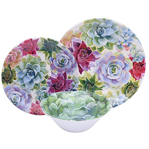 Colorful 12 Piece Floral Melamine Dinnerware Set, Break Resistant Dishes for Everyday Use, Service for 4 (Best Everyday Dishes)