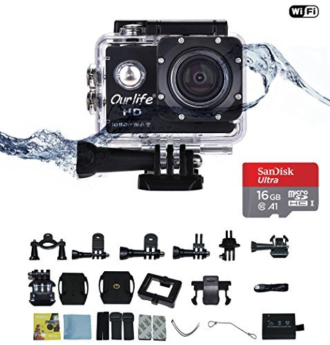 OptiCover Ourlife Action Video Camera 1080P WIFI Sports Camera IP68 Waterproof DV Camcorder 12MP 170° Wide Angle 2 Inch Screen with Mounting Kit price tips cheap