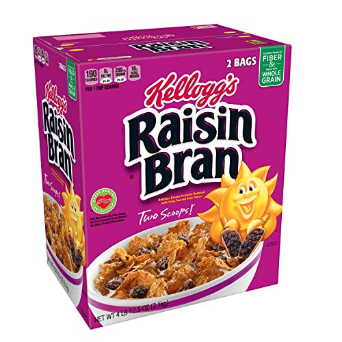 Kellogg's Raisin Bran, Breakfast Cereal, Original, Excellent Source of Fiber, 76.5 oz Box (2 Bags)