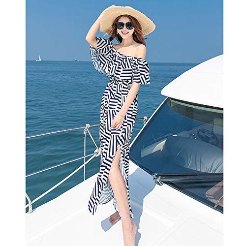 Fuera Fluido Estampado Playa Del Las Mujeres Vestido Largo Verano Pl De Volantes Con Tirantes Bohemio Maxi Blanco Hombro Boho x0qaHXwH