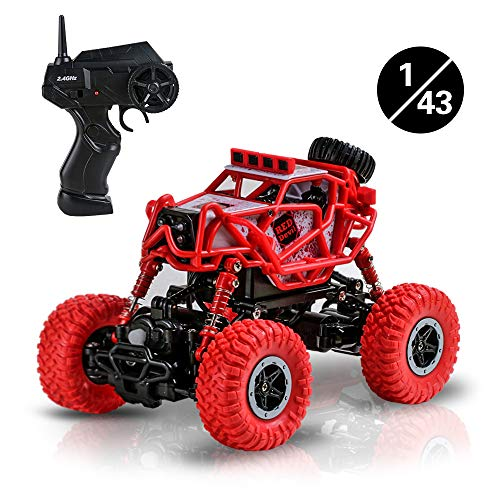Terresa Remote Control Car - 2.4Ghz 4WD Off Road Rock Crawler Vehicle, 1/43 Scale Electric Climbing Race RC Car as Xmas Christmas New Year Gifts for Kids