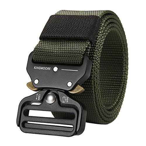 KingMoore Men's Tactical Belt Heavy Duty Webbing Belt Adjustable Military Style Nylon Belts (Army Green, Medium) ()