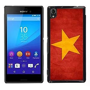 EJOY---Cubierta de la caja de protección para la piel dura ** Sony Xperia M4 Aqua ** --Nacional bandera de la nación País Vietnam