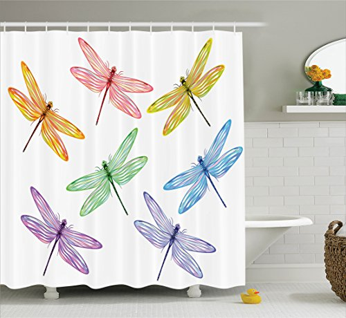 Ambesonne Country Decor Collection, Group of Dragonflies with Colored Patches and Elongated Body Flat Winged Wild Animal Design, Polyester Fabric Bathroom Shower Curtain Set with Hooks, Multi