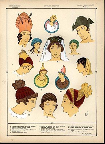 Greco Roman Head Wear Hats Decorative c.1920 vintage hand color fashion print (Roman Head Wear)