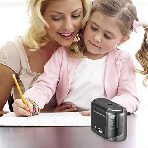 BOOCOSA Pencil Sharpener, BEST Heavy Duty Steel Blade, Electric Pencils Sharpener with Auto Stop for School Classroom Office Home – Precise Perfect Point Every time for Artists Kids Adults (0.8) Photo #3