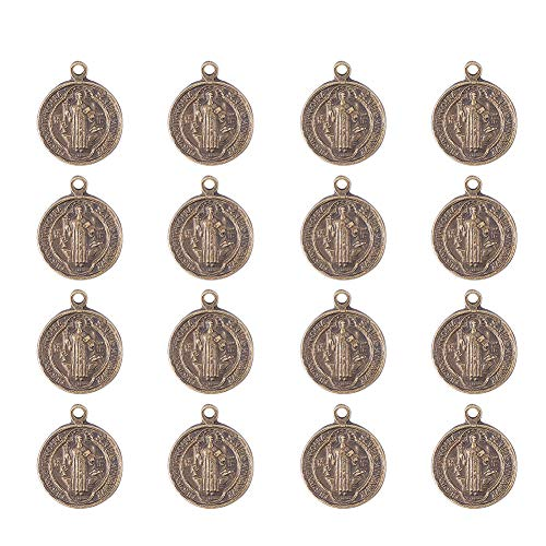 (PandaHall About 200 Pcs Tibetan Style Alloy Rosary Miraculous Medal Flat Round Chandelier Virgin Charm Pendants for Jewelry Making Antique Bronze)