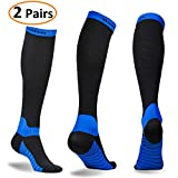 Deilin Compression Socks for Women & Men (2 Pairs), Graduated Compression Sock 20-30 mmhg for Running, Athletic Sports, Flight Travel, Nurses, Maternity Pregnancy, Shin Splints, Edema, Varicose Veins
