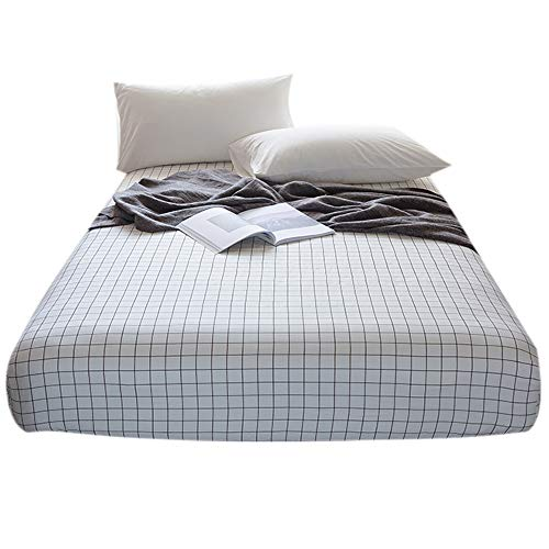 FenDie Full/Queen Size Fitted Sheet Only - 100% Cotton, Grid Pattern Bedding White, Lightweight Breathable