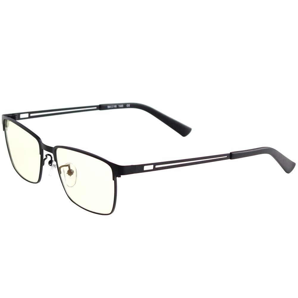 Blue Light Blocking Glasses Clip-on Computer Glasses Anti UV Glare Eye Strain Reading Gaming Glasses for Women Men (Black)