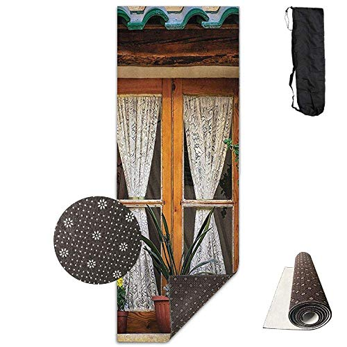 (70-inch Long 28-inch Wide Comfort Velvet Yoga Mat, Architectural Window Lace Curtains Mat Carrying Strap & Bag)