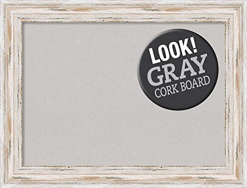 Amanti Art Large, Outer Size 33 x 25 Grey Cork Alexandria White Wash Framed Bulletin Boards