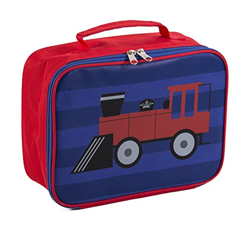 Train Blue Red 7.5 x 10 Inch Polyester Insulated Lunch Box Bag