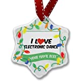 Personalized Name Christmas Ornament, I Love Electronic Dance NEONBLOND