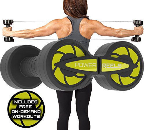 POWER REELS Amazon 1 Most Effective Constant Resistance Fitness Product. Build Stronger and leaner Muscles, Train Anywhere andamp; See Faster Results (Yellow) 3lbs Resistance