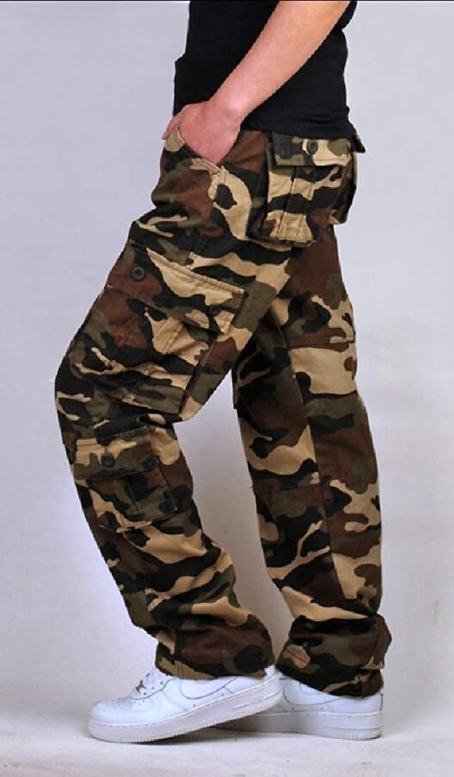 Generic Mens Relaxed Fit Twill Cargo Pants Combat Outdoor Cotton Camo Trouser
