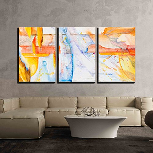 abstract picture paints on paper x3 Panels