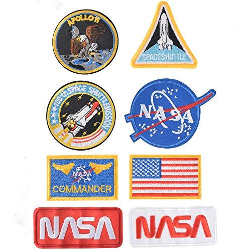 TACVEL 8PCS NASA Embroidered Patch Iron on Logo Clothes Jacket Cap DIY NASA Patch NASA Space Fans