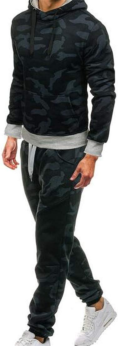 YUELANDE Men Sport 2 Piece Set Leisure Camouflage Jogging Tracksuit Top /& Bottoms Set