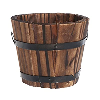 Techinal Country Rustic Wooden Flower Pots Planter Barrel, Round Wood Succulent Pots Planters, for Home Garden Outdoor Decoration: Garden & Outdoor