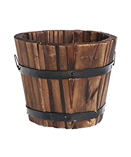 Techinal Country Rustic Wooden Flower Pots Planter Barrel, Round Wood Succulent Pots Planters, for Home Garden Outdoor Decoration