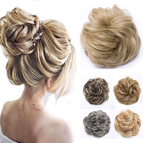Messy Updo Hair Bun Extensions Synthetic Chignons Hairpieces Donut Elastic Bride Bun Ponytail Scrunchy Accessory for Women 45g Golden BlondeThicker